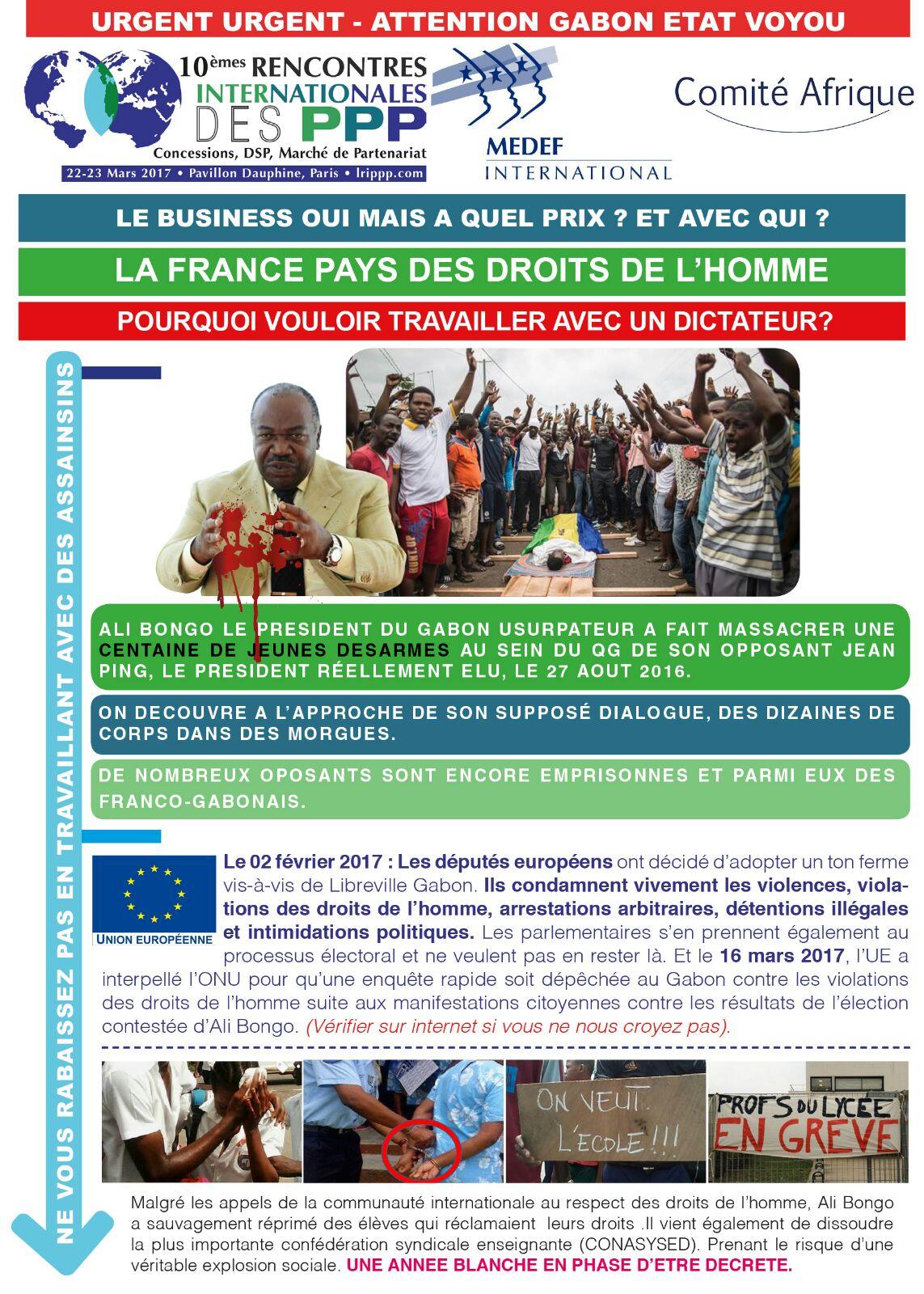 GABON/FRANCE:LA DIASPORA PROTESTE CONTRE la MAIN TENDUE du MEDEF AU GOUVERNEMENT d'ALI BONGO (JMTV+)